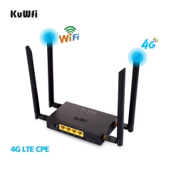 (EU version)KuWFi 4G LTE Car WiFi Wireless Router 300Mbps Cat 4 High Speed Industry CPE with SIM Card Slot and 4pcs External Antennas Support Europe