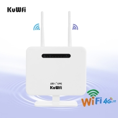 KuWFi 4G LTE CPE WiFi Hotspot Unlocked Wireless 4G Router with SIM Card Slot Support 32 users 2pcs External Antennas (US/EU verison)