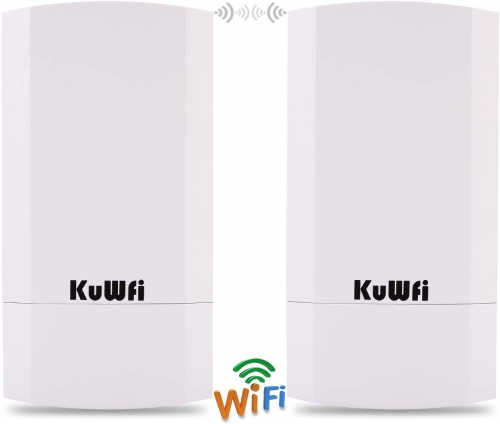 KuWFi 2-Pack 300Mbps Wireless Outdoor CPE Kit Point-to-Point Wireless Access Point 2.4G WiFi Bridge Supports 1KM Transmission Distance Solution for PT