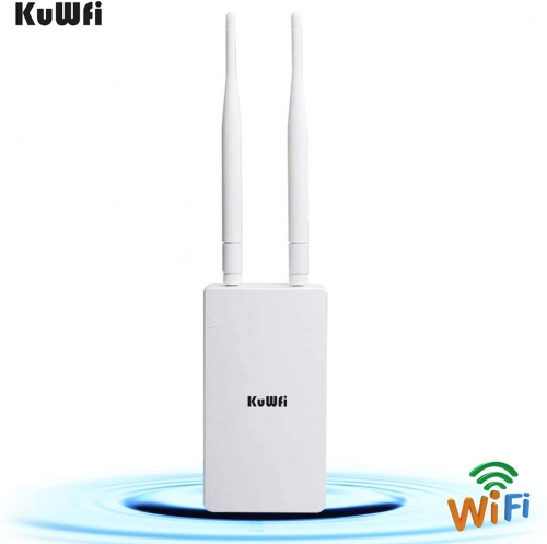 KuWFi 300Mbps Outdoor CPE Bridge Long Range WiFi Hotspot Outdoor Wireless Access Point Omnidirectional Coverage WiF Signal 48V POE