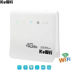 KuWFi 4G WiFi Router Unlocked 300Mbps 4G LTE CPE Mobile WiFi Wireless Routers for SIM Card Slot with LAN Port Support Caribbean,Europe,Asia, Middle Ea
