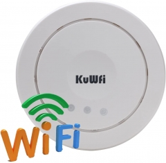 KuWFi Ceiling Wireless Access Point,Ceiling-Mount Wireless Network Indoor Access Ponit PoE Long-Range WiFi AP Router Signal for Whole Home Coverage Wi