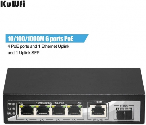 KuWFi firmware Gigabit Ethernet Network Switch Plug & Play High Speed with 4 PoE Ports and 1 Ethernet Uplink and 1 Uplink Fiber for IP Camera and Acce