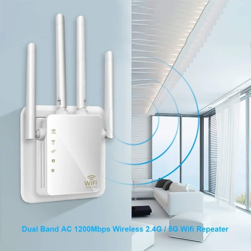 KuWFi  firmware WiFi Range Extender 1200Mbps Repeater with Ethernet Ports 2.4 & 5GHz Dual Band Signal Booster for The House (US Plug)