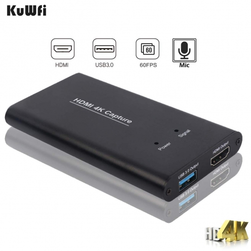 KuWFi Game Capture Card 4K HDMI to USB3.0 HD Video Converters Live Streaming Capture Device with MIC Input for Game Streaming