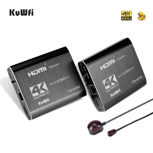 KuWFi 4K HDMI Network Extender Over Single Cat5e/Cat6 Ethernet Cable RJ45 120M IR Remote Transmitter Receiver for PS4