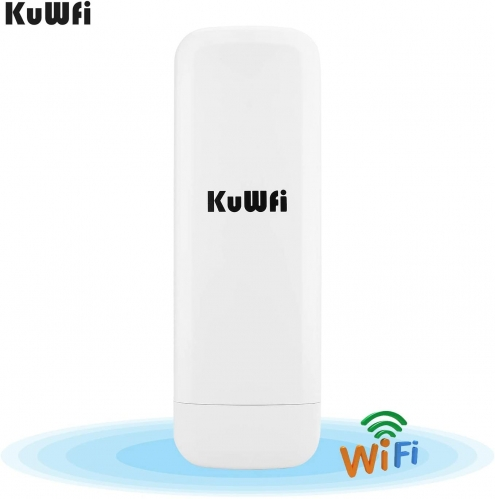 KuWFi Outdoor CPE WiFi 300Mpbs 2.4G Waterproof Outdoor CPE 1W High Power 3KM Long Range Wireless Outdoor AP Access Point CPE with POE Adapter