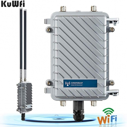 KuWFi High Performance 300Mpbs 2.4G Outdoor CPE/AP Waterproof Outdoor Base Station Access Point with 18dBi Panel Antenna Support Wireless AP/Gateway/W