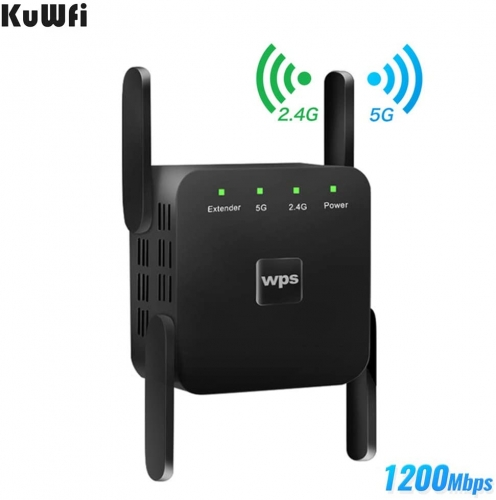 KuWFi WiFi Range Extender 2.4/5.8GHz Dual Band 1200Mbps Wireless Internet WiFi Booster/Amplifier/Repeater with WPS Extend WiFi Signal to Smart Home De