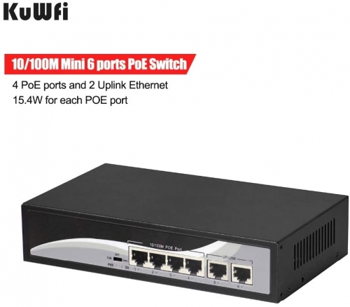 KuWFi firmware  Ethernet Network Switch with PoE 6-Port 10/100 Switch with 4 PoE Ports and 2 Uplink Ethernet Desktop Switch hub Network Full/Half Dupl