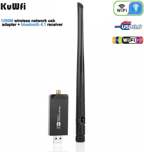 KuWFi Dual Band  4.1 WiFi USB Adapter, Wireless AC 1200Mbps 5GHz WiFi USB 3.0 LAN Adapter High Gain Antenna Network Card for Windows Linux Systems