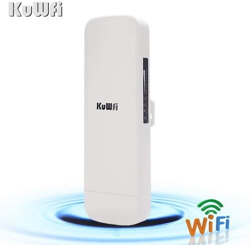KuWFi 900Mbps 5.8G Outdoor Bridge, Waterproof Outdoor CPE 1W High Power 3-5KM Long Range Wireless Outdoor AP Access Point CPE with POE Adapter &15dbi