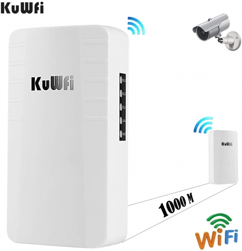 KuWFi Wireless WiFi Bridge Outdoor AP 2.4G 300Mbps Point to Point Wireless Access Points with RJ45 for Security Monitoring Outdoor WiFi Transmission u