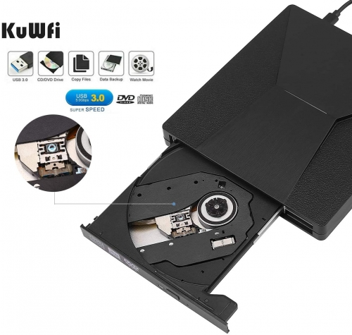 KuWFi firmware  External CD DVD Drive, Type C USB 3.0 CD DVD Burner Drive Writer Player with CD/DVD +/-Rw Optical Drive for MAC OS/Laptop/Windows 10/8