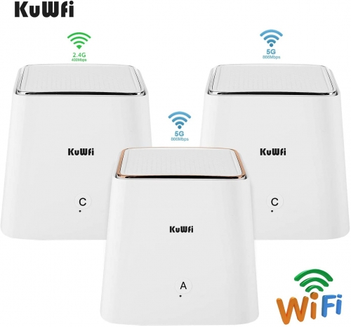 KuWFi Whole Home Mesh WiFi System Dual Band 1.2Gbps High Performance WiFi Extender Replacement Home's WiFi Coverage to Eliminate No Signal Zone[3 Pack