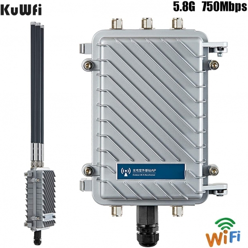 KuWFi firmware Outdoor Wireless WiFi Access Point 11AC 750Mbps Dual-Band 2.4G/5.8G Antennas Waterproof Base Station AP Support AP/WiFi Repeater/WISP