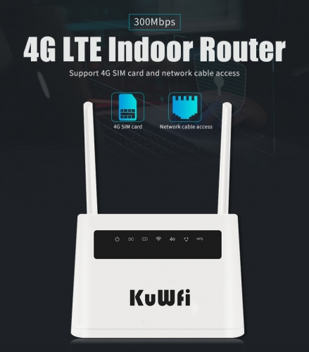 KuWFi firmware 4G Wifi Router 5000mAh 4G LTE Mobile Wifi Hotspot Unlocked Global FDD/TDD LTE Sim Card Router 4 Lan Port Up to 32users