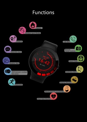 KuWFi Smart  fitness Watch for Android and iOS Phone IP68 Waterproof, Fitness Tracker Watch with Heart Rate Monitor Step Sleep Tracker