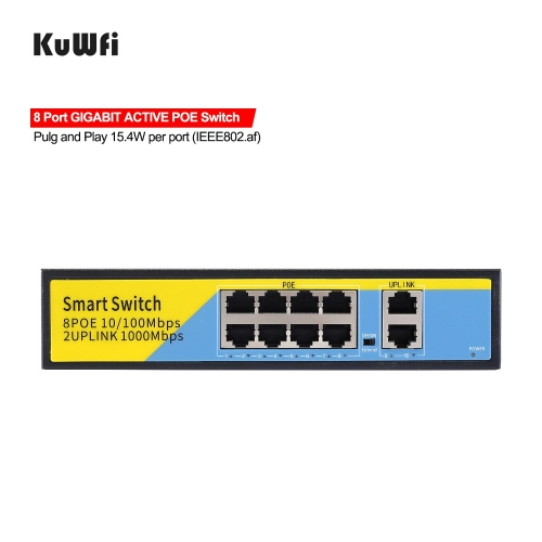 48V POE Switch 10/100/1000mbps Ethernet Switch 8Port Gigabit Switcher RJ45 Hub 8Port POE + 2Port Uplink Distance 50-100M