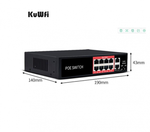 48V Network Ethernet Switch 10/100Mbps With 8 Ports POE Injector POE Power Adapter For IP camera Wireless AP Mining Equipment
