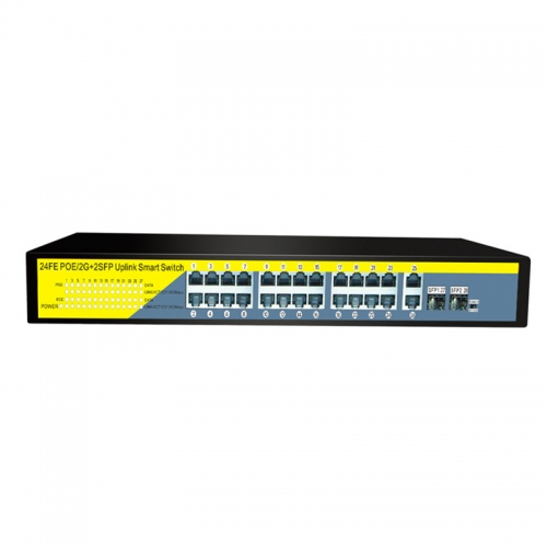 24Ports Gigabit Switch 1000Mbps POE Switch , Smart Desktop Network Power Over Ethernet InjectorExtend 250M ,2 Port Uplink 1 SFP