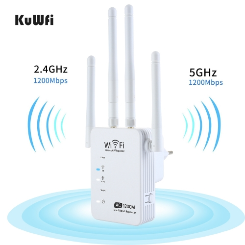 KuWFi 1200Mbps Wifi Repeater Dual Band AP Router Repeater Long Wifi Range Extender 4 Antenna Wifi Signal Amplifier Booster