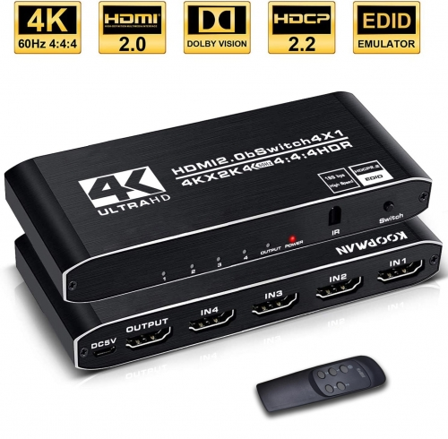 4k HDR HDMI Switch 4 Ports HDMI 2.0 Switcher Selector with IR Remote Control, Supports HDCP 2.2 for PS4 Xbox Apple TV Fire Stick