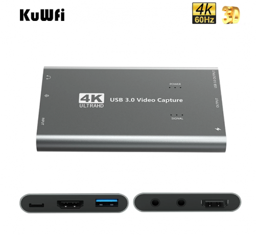 KuWFi Capture Card 1080p 60fps For Live Streaming HDMI to USB 3.0 4K Capture Card For Xbox One, PS4, Wii