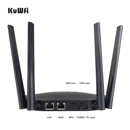 KuWfi 4G LTE Router 300Mbps Wireless CPE 3G/4G LTE Wifi Router with Sim Card Slot Wan/Lan Port 4 External Antennas