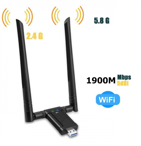 KuWFi 1900Mbps USB Wifi Adapter Dual Band 5dBi Wifi Antenna USB3.0 Wireless Network Card for PC Desktop Lapt