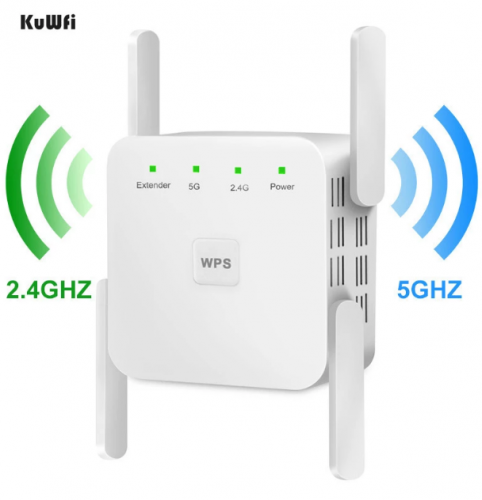 KuWfi Wireless Wifi Repeater WiFi Extender 2.4G 5G AP Router WiFi Amplifier Signal Repeater support windows xp /win10 mac os etc