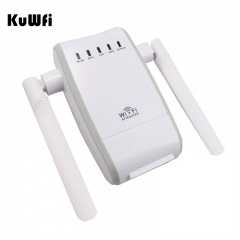 300Mbps Mini Wireless Wifi Signal Booster Repeater with 2 RJ45 Port Dual Antenna With AP Repeater Router Client Bridge Modes