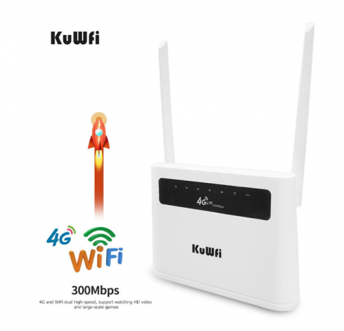 KuWFi 4G Router Unlocked 4G SIM Card Wifi Router CAT4 150Mbps Built-in Battery Wireless CPE Support 32 Users&RJ45 Lan Ports