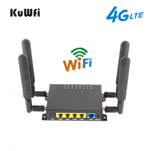 KuWFi OpenWRT 4G Wifi Router CAT4 150Mbps Wireless CPE Router Unlocked 4G SIM Wifi With USB Port &4*5dBi High Gain Antennas