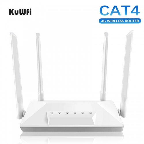 4G LTE Router Unlocked CAT4 Wireless CPE Router Mobile Hotspot RJ45 LAN Port Modem with SIM Card Slot 150Mbps 4 External Antenna