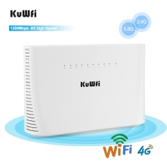 KuWFi 4G LTE Router 1200Mbps 2.4G/5G Wireless Home Office WiFi Router Unlocked TDD/FDD with RJ45 up to 64 Wifi Users